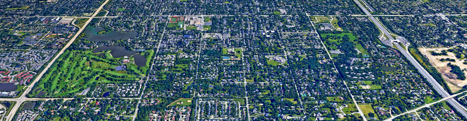 aerial view of roads in Hinsdale, IL